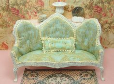 Dollhouse Sofa Shabby French Chic Distressed by Memoriesnminiature, $54.99
