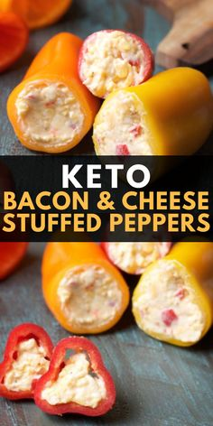 Keto Snacks: Bacon and Pimento Cheese Stuffed Peppers Are you wondering what keto snacks you can have? These Bacon and Pimento Cheese Stuffed Sweet Peppers are the perfect low carb snack with only net carbs per serving! Keto Foods, Keto Snacks, Keto Recipes, Protein Snacks, Keto Meal, Potato Recipes, High Protein, Pasta Recipes, Crockpot Recipes