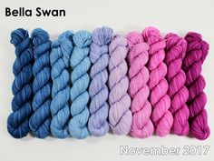The highest quality hand-dyed, just for you. Spinning Yarn, Bella Swan, Gradient Color, Merino Wool Blanket, Color Combos, Sheep, Blankets, Fiber, November