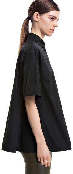 Lou tech black blouse with short kimono sleeves #AcneStudios #PreFall2014