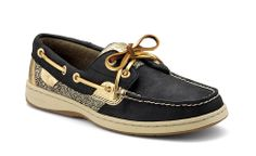 Sperry Top-sider Women's Bluefish 2-Eye Boat Shoe in Black and Gold Damask
