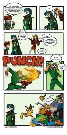 Super Smash Bros Comics - St Patricks day isn't a good day to NOT wear green. Super Smash Bros Memes, Nintendo Super Smash Bros, Games Memes, Funny Games, Awkward Zombie, Little Mac, Legend Of Zelda Memes, Gamer Humor, Mario Bros