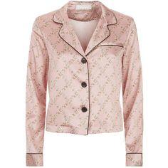 fleur du mal Chain Print Pyjama Top ($410) ❤ liked on Polyvore featuring tops, silk top, fleur du mal, pink top and pink silk top