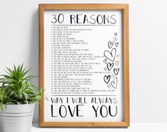 Reasons I love you print: 20 reasons, 10 reasons, 40 reasons we love you, 50 reasons, romantic gifts Cute Valentines Day Gifts, Valentines Gifts For Boyfriend, Boyfriend Gifts, Meaningful Gifts For Boyfriend, Boyfriend Girlfriend, Secret Love Messages, Message Jar, Love You Boyfriend, Reasons I Love You