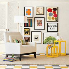 Love this gallery wall! and the bright tables