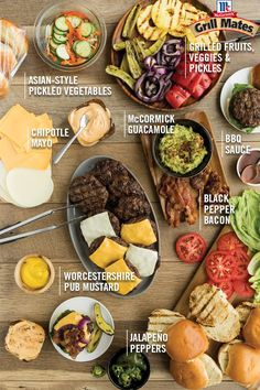 Take your cookout to the next level with this DIY build-your-own-burger bar! Thi… Get the next level with this home-made burger bar! This fun, creative way to serve a summer favorite will be a hit! Set up your toppings and let your guests mix! Sandwich Bar, Bar A Burger, Burger Bar Party, Roast Beef Sandwich, Gourmet Burgers, Bbq Party Menu, Party Food Bars, Burger Menu, Ideas Party
