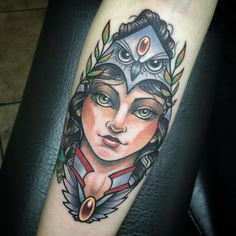American traditional style Greek goddess Athena