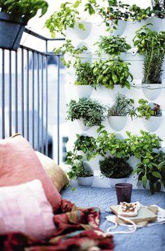 VERTIKAL HAGE: Hvis du har en liten terrasse eller veranda, er det smart å gå i høyden. Veggen her er bygget opp av et modulsystem som gjør at du kan lage din egen hage hvor som helst. De stabelbareplantekassene heter Minigarden og er fra moreland.dk.