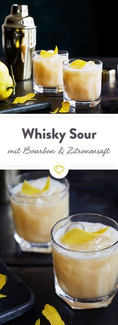 Mix dir einen absoluten Cocktail-Klassiker. Original Whisky Sour mit Bourbon, Zitronensaft, Zuckersirup und Eiweiß. Das einzig wahre Rezept.