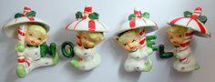 Napco Rare Vintage Christmas Candy Cane Umbrella Pixies Elves  Figurine Set of 4