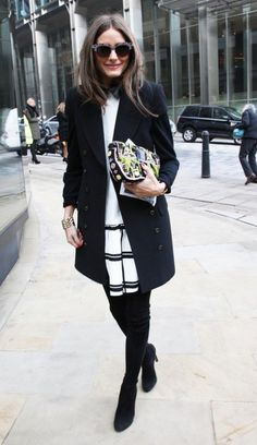 "Always a fashion week favorite. Olivia Palermo at London Fashion Week in the Tibi ""checkered dropwaist dress."