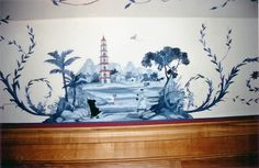 hand painted blue & white Chinoiserie Mural