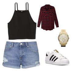 Casual outfits by jalyn0502 on Polyvore featuring polyvore, fashion, style, LE3NO, Topshop, adidas, MICHAEL Michael Kors and clothing