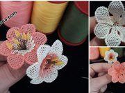 İĞNE OYASI NERGİS ÇİÇEĞİ NASIL YAPILIR? Crochet Dinosaur Patterns, Baby Boy Knitting Patterns, Knitting Designs, Crochet Jewelry Patterns, Crochet Flower Patterns, Russian Embroidery, Knit Baby Dress, Crochet Lace Edging, Baby Girl Crochet