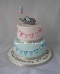 Christening cake made for twin brother and sister so it's baby pink and baby blue with an elephant on top holding tow coloured balloons. The elephant has one blue ear and one pink ear