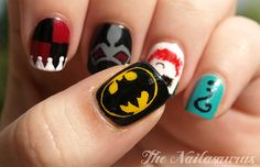 A Comic Book Manicure: Batman & Supervillain Nail Art Cool Easy Nail Designs, Cool Easy Nails, Cool Nail Art, Nail Art Designs, Nails Design, So Nails, How To Do Nails, Cute Nails, Hair And Nails