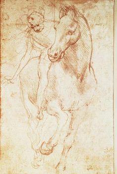 Amanti Art 'Horse & Rider' by Leonardo da Vinci Framed Art Print Horse Drawings, Animal Drawings, Art Drawings, Silverpoint, Horse Sketch, Pierre Auguste Renoir, Equine Art, Renaissance Art, Horses