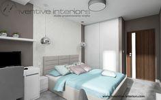 Projekt sypialni Inventive Interiors - jasna sypialnia z błękitnym akcentem