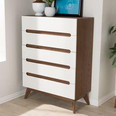 Baxton Studio Calypso Mid-Century Modern White and Walnut Wood Storage Chest - JCPenney 5 Drawer Storage, 5 Drawer Dresser, 5 Drawer Chest, Chest Of Drawers, Storage Chest, White Drawers, Drawer Handles, Shoe Storage, Dressers