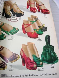 Aldens Catalog Fall & Winter vintage fashion style color illustration womens shoes red green black sandals heels pumps buckle bows open toe purse print ad late Source by RetroVS 1940s Shoes, Retro Shoes, Vintage Shoes, Vintage Purses, Vintage Bags, Vintage Clothing, 1940s Fashion, Vintage Fashion, Victorian Fashion
