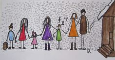 family Illustration: © Trine Kvalnes Follow me at: facebook.com/bittelita