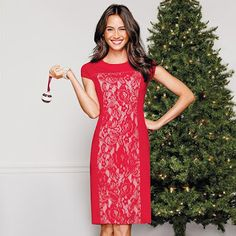 Perfectly Polished Lace Dress in Misses  Dazzle at the holiday party! With a slimming silhouette you will turn up the heat in this red hot holiday dress featuring lace panels with nude lining and flattering cap sleeves.  More Info/Buy
