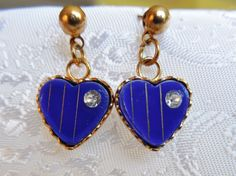 Vintage Blue Glass Heart Earrings by KKCollectibleCollage on Etsy, $4.00 https://www.etsy.com/listing/174922934/vintage-blue-glass-heart-earrings