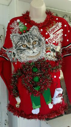 "Ugly tacky christmas Cats Sweater Santa CLAWS Lights UP OOAK SZ SMALL/MED 36"" #Handmade #BoatNeck #party"