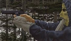 David Alexander Colville, O. (Canadian, born In the Woods inscribed 'IN THE WOODS, ALEX COLVILLE, 1976 acrylic polymer emulsion' on the reverse acrylic polymer emulsion on board x x 13 (Alex Colville/AC Fine Arts) Alex Colville, Canadian Painters, Canadian Artists, Magic Realism, Realism Art, Canada Images, Prince Edward Island, Matte Painting, Art Database