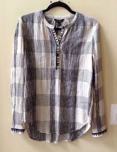 NWT LUCKY BRAND WOMEN'S MULTI-COLOR RAYON/COTTON LONG SLEEVE BLOUSE SIZE S #LuckyBrand #Blouse
