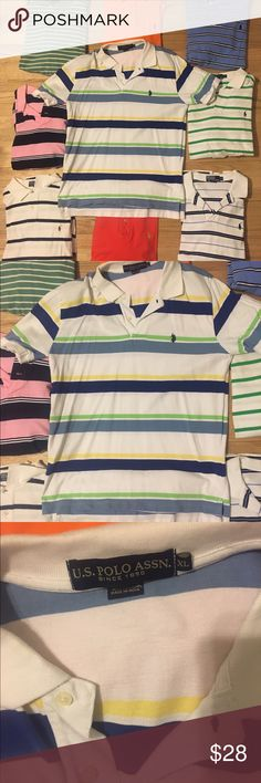 Ralph Lauren Polo button up collared short sleeve EUC so my bf buys shirts only wears 1x! All are available excellent condition almost new with tags NWT! 👀 At the pics and ask questions if you have them! I copy and paste-listings are similar! will do great bundles! Men's polo have button up down dress or casual short half sleeve shirt w collar . All accessories listed! Some striped tiny or Large w many colors w red green blue orange yellow purple pink brown Tag Tommy Hilfiger # Nautica #…