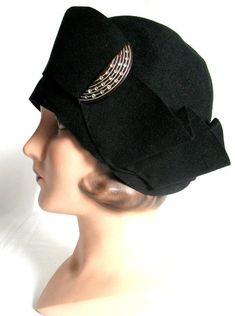 291793c2778d4 Vintage 20's Flapper Cloche Hat Original Ornament Ex! Brown Boots, Fashion