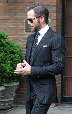 Chris Pine. SubCategory A: I Just... I Do Not Even Know Where to Begin... SubCategory B: Suit Porn (and THREE-PIECE Suit Porn, At That). SubCategory C: Unmitigated Beard Porn. SubCategory D: Spectacle Kink is Detrimental to My Retinal Health. SubCategory E: Just... Go On Without Me.