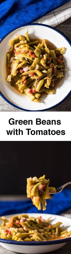 Green Beans with Tomatoes. Turkish/Greek style. An outstanding combination of simple ingredients. Ready in 30 min. Will be your ultimate side dish.
