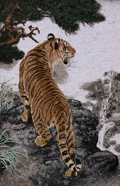 The micro mosaic painting is made from semi-precious stones, and depicts images from a tiger. Found it on MarbleWarehouse.com for $4,210.00