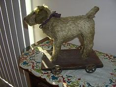 """Early Mohair 10"""" Dog on Metal Wheels Pull Toy Excellent Condition - Paula's Doll Memories #dollshopsunited"""