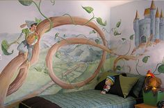 Jack And The Bean Stock Mural #nurserymural #muralforkids