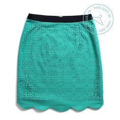 This just in! We have a serious color crush on this laser-cut, scalloped-hem skirt. (Stacey Cut-Out Detail Skirt)