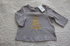 NEW babyGap 0 3 M Months Newborn Christmas Tree Holiday Shirt Top Merry & Bright #babyGap #DressyEverydayHoliday