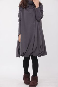 Pile collar cotton dress in Dark gray by MaLieb on Etsy, $69.00 - good for those cold rainy days, mom's running errands, students.