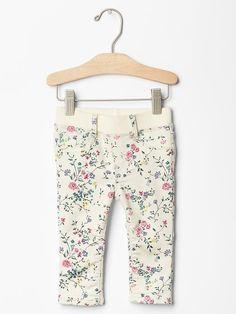 Floral pull-on legging jean