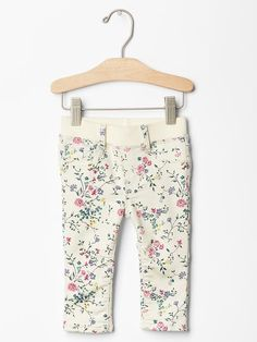 Floral pull-on legging jean