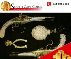 A pistol set made of ivory and 18ct yellow and white gold encrusted with diamonds that took Mr Sid Forman three years to complete. #coins #rarecoins #investments
