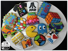 Theme Cookies, Rubik's Cube, Pack-Man, Simon Says, ATARI by Cakes & Cookies by Clau. Cookie Frosting, Royal Icing Cookies, Fun Cookies, Sugar Cookies, Decorated Cookies, Crazy Cookies, 40th Bday Ideas, 40th Birthday Themes, 40th Birthday Cakes For Men