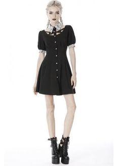 Dark In Love Skull Lace Collar Mini Dress | Attitude Clothing Scene Girl Fashion, Scene Girls, Gothic Dress, Lace Collar, Lace Dress, Women Wear, Skull, Short Sleeve Dresses, Sleeves