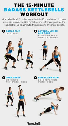 The Best Workouts for 2015 www.womenshealthm… The Best Workouts for 2015 www. Kettlebell Training, Kettlebell Circuit, Kettlebell Challenge, Kettlebell Benefits, Training Exercises, Tabata, Insanity Workout, Best Cardio Workout, Workout Exercises