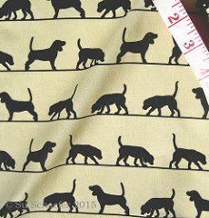 'Beagle silhouettes on ecru by Su_G': proofing swatch printed by Spoonflower. © Su Schaefer 2015