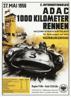 1956 Nurburgring 1000 Auto Race Ad Fine Art Print