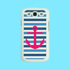 Samsung Galaxy S3 case --Stripe and Anchor, cute Samsung galaxy S3 case in plastic hard or silicone,color in black or white. $14.99, via Etsy.
