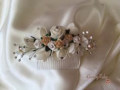 This hair comb is made beautifully with ivory and gold rose buds and crystal beads. Different coloured roses can also be added to match your wedding theme. Crystal Beads, Crystals, Rose Buds, Hair Comb, Bridal Hair, Cinderella, Ivory, Rose Gold, Brooch